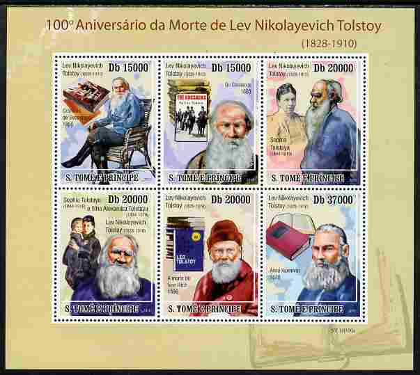 St Thomas & Prince Islands 2010 100th Anniversary of Death of Leo Tolstoy perf sheetlet containing 6 values unmounted mint