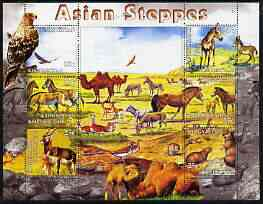 Kyrgyzstan 2004 Fauna of the World - Asian Steppes perf sheetlet containing 6 values unmounted mint, stamps on animals, stamps on camels, stamps on horses, stamps on eagles, stamps on birds of prey, stamps on beavers, stamps on birds