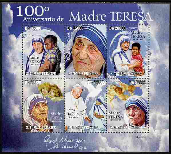 St Thomas & Prince Islands 2010 100th Anniversary of Birth of Mother Teresa perf sheetlet containing 6 values unmounted mint
