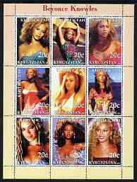 Kyrgyzstan 2003 Beyonce Knowles perf sheetlet containing 9 values unmounted mint