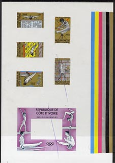 Ivory Coast 1980 Moscow Olympics imperf master proof containing 5 stamps and outer frame for m/sheet on gummed paper showing solid colour bars (one stamp and m/sheet crossed out) rare