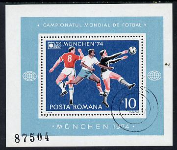 Rumania 1974 Football World Cup m/sheet cto used SG MS 4088 (Mi BL 114)