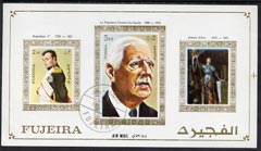 Fujeira 1972 Napoleon, De Gaulle & Joan of Arc imperf m/sheet cto used with fine shift of blue printing