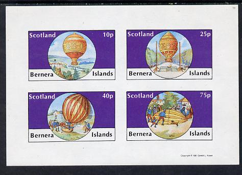 Bernera 1981 Balloons #2 imperf set of 4 values (10p to 75p) unmounted mint