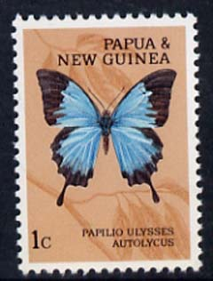 Papua New Guinea 1966 Papilio Ulysses Autolycus 1c Butterfly unmounted mint, SG 82*