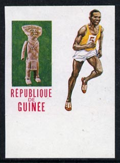 Guinea - Conakry 1969 Running 5f imperf proof single with black omitted (value & inscription missing) from Mexico Olympics set unmounted mint, as SG 674, stamps on running, stamps on olympics