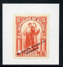 Bolivia 1920 Justice 5c colour trial in orange affixed to small piece overprinted