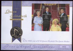 Great Britain 2000 Royal Mail/Royal Mint illustrated coin cover for 100th Year of The Queen Mother bearing Four Generations m/sheet with special  London SW1 handstamp in ...