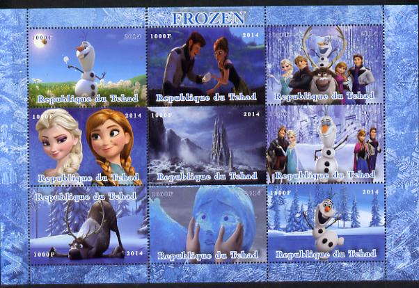 Chad 2014 Walt Disney's Frozen perf sheetlet containing 9 values unmounted mint