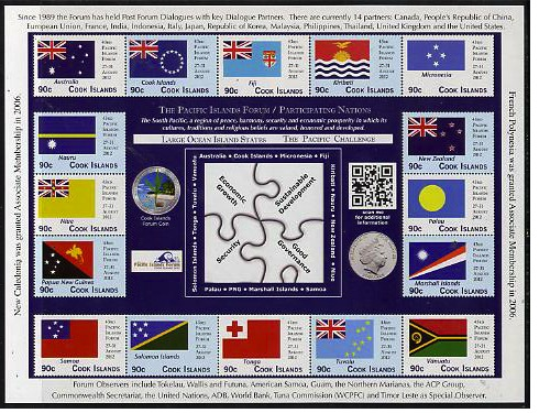 Cook Islands 2012 43rd Pacific Islands Forum - Participating Nations sheetlet containing 16 values unmounted mint
