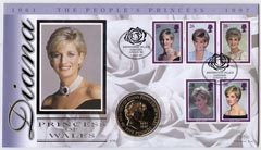 Great Britain 1999 Benham illustrated coin cover for Princess Diana bearing full set 1997 commemoratives with special Kensington Palace Gardens handstamp.  Also includes ...
