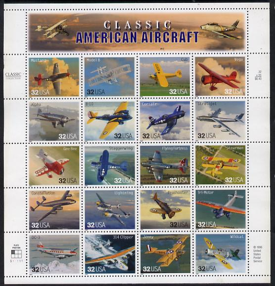 United States 1997 American Aircraft sheetlet containing 20 values unmounted mint, SG 3304a