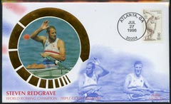 United States 1996 Benham silk cover commemorating Steve Redgrave World Rowing Champion with Atlanta Cancel