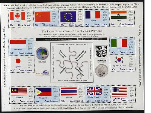 Cook Islands 2012 43rd Pacific Islands Forum - Key Dialogue Partners sheetlet containing 16 values unmounted mint