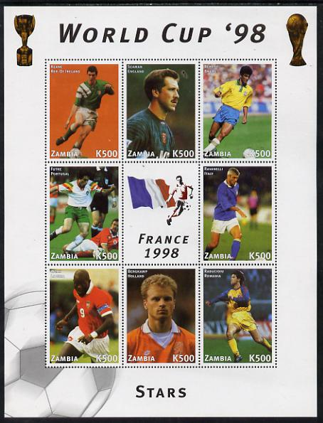 Zambia 1998 Football World Cup #2 perf sheet containing 8 values plus label unmounted mint