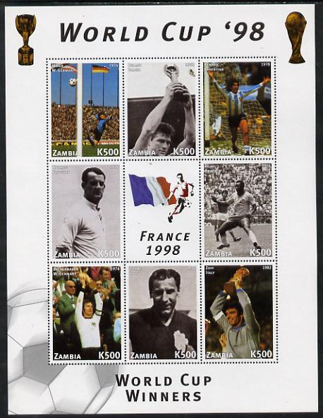Zambia 1998 Football World Cup #3 perf sheet containing 8 values plus label unmounted mint