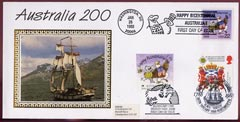 Australia, Great Britain & USA 1988 Benham silk cover for Australia 200 triple franked each with special cancellations