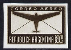 Argentine Republic 1940 Aeroplane & Envelope 30c imperf colour trial proof in brown, as SG 689