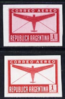 Argentine Republic 1940 Aeroplane & Envelope 1p two imperf proofs in red with & without background shading, as SG 691
