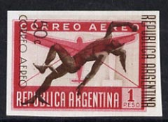 Argentine Republic 1940 Air 50c brown & 1p carmine printed together in imperf working proof