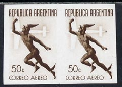 Argentine Republic 1940 Air 50c imperf proof pair in brown on ungummed pper, as SG 690
