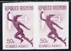 Argentine Republic 1940 Air 50c imperf proof pair in maroon on ungummed pper, as SG 690