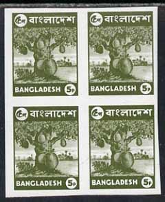 Bangladesh 1976 Jack Fruit 5p unmounted mint imperf block of 4, SG64a
