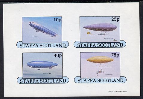 Staffa 1981 Airships #1 imperf set of 4 values (10p to 75p) unmounted mint