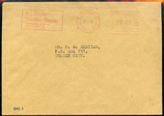 Belize locally used cover with SPECIMEN meter slogan for Travellers Cheques