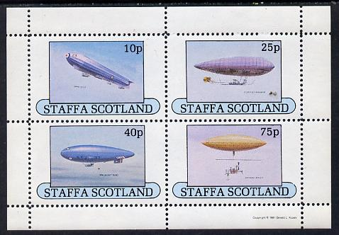 Staffa 1981 Airships #1 perf set of 4 values (10p to 75p) unmounted mint