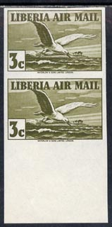 Liberia 1938 Tern 3c olive-green imperf pair unmounted mint, SG 567a