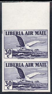 Liberia 1938 Tern 30c grey imperf pair unmounted mint, SG 572a
