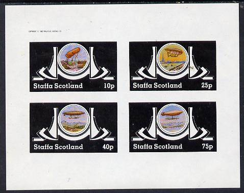 Staffa 1982 Airships #2 imperf set of 4 values (10p to 75p) unmounted mint