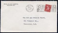 Canada 1950 KG6 cover to BC from Royal Inland Hospital