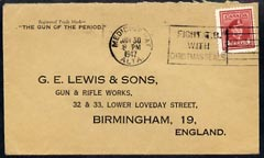 Canada 1947 KG6 cover to UK from Gun Maker