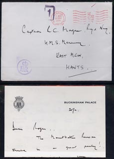 Great Britain 1974 cover and letter from Buckingham Palace with E2R on front in violet, reference to Mountbatten Reunion and signed William (probably Lt Com W B Willett O...