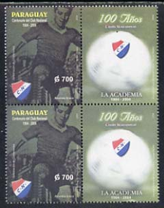 Paraguay 2004 Centenary of National Football Club G700 se-tenant with label unmounted mint