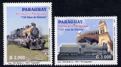 Paraguay 2004 150th Anniversary of Railways perf set of 2 unmounted mint