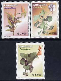 Paraguay 2004 Agriculture perf set of 3 unmounted mint, stamps on farming, stamps on maize, stamps on cotton
