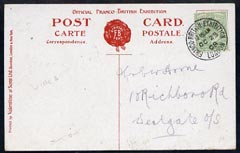 Great Britain 1908 PPC (Franco British Exhibition) used bearing KE7 1/2d with fine exhibition cancel