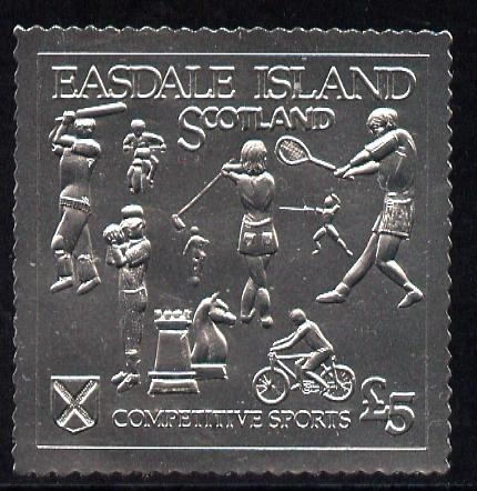 Easdale 1991 Competitive Sport #1 \A35 embossed in silver foil (with border showing Golf, Cricket, Tennis, Scrambling, Bowls, Fencing, Cycling & Chess) unmounted mint