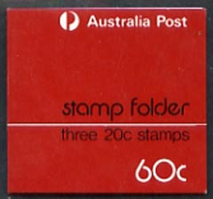 Booklet - Australia 1973 Experimental booklet 60c Stamp Folder containg 3 x 20c Grebe stamps (SG673) see note after SG SB51