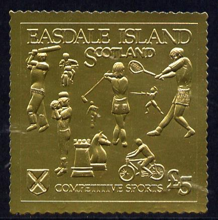 Easdale 1991 Competitive Sport #1 \A35 embossed in gold foil (with border showing Golf, Cricket, Tennis, Scrambling, Bowls, Fencing, Cycling & Chess) unmounted mint