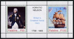 Palatine (Fantasy) Horatio Nelson - Britain's Greatest Naval Hero perf sheetlet containing 2 values and label unmounted mint