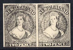 New Zealand 1855 Chalon Head 2d Hausberg's imperf proof pair in black on white card, very fine