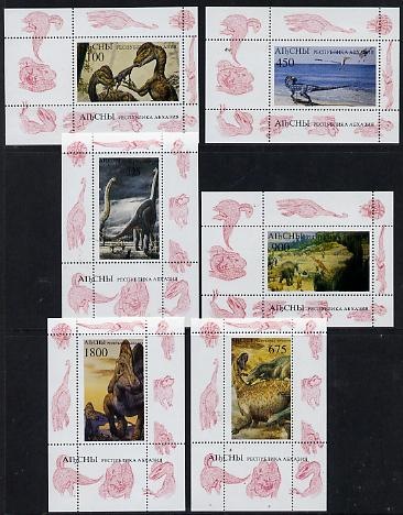 Abkhazia 1995 (April) Prehistoric Animals set of 6 perf m/sheets unmounted mint