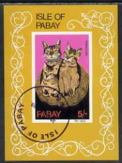 Pabay 1969 Cats imperf m/sheet (5s value showing Abyssinian) cto used, stamps on animals, stamps on cats