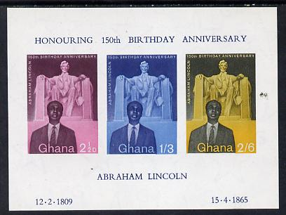 Ghana 1959 Birth Anniversary of Abraham Lincoln imperf m/sheet unmounted mint SG MS 206a