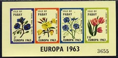 Pabay 1963 Europa Flowers imperf sheetlet containing set of 4 values unmounted mint (Rosen PA11)