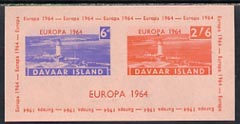 Davaar Island 1964 Europa imperf m/sheet (Lighthouses) on pink paper unmounted mint